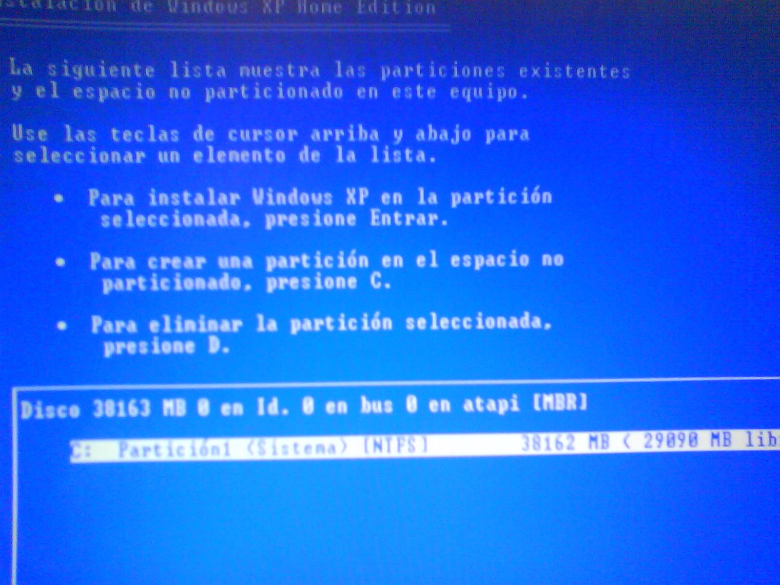 disco instalacion windows xp: